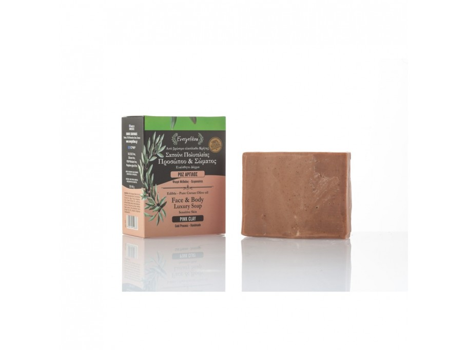 Edible-Pure Cretan Olive oil Face & Body Soap Pink Clay